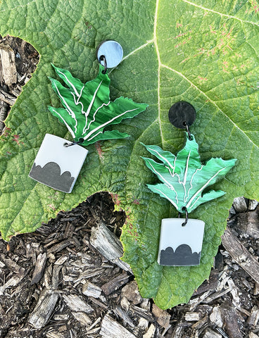 POTTED FERN EARRINGS - GREEN RIPPLE