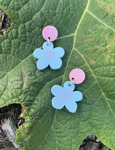 PASTEL FLORALS EARRINGS - BLUE & PINK STUD
