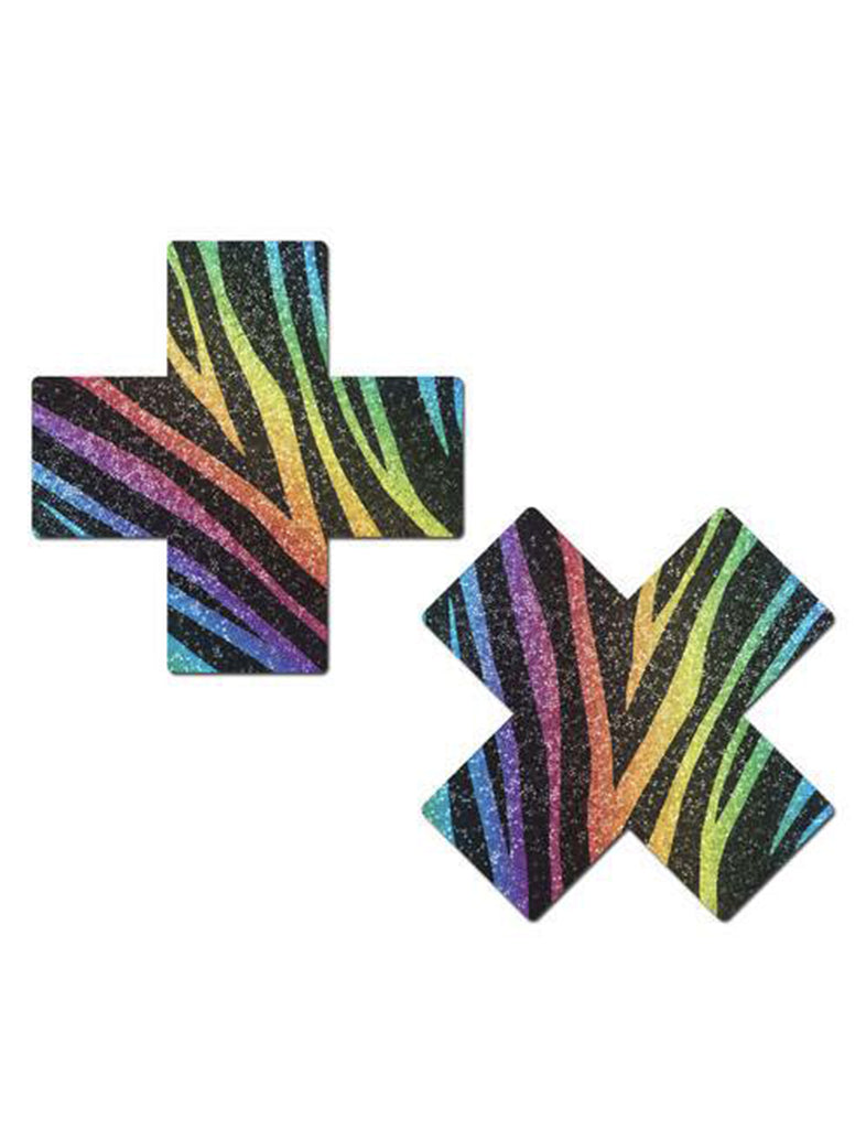 CROSS NIPPLE PASTIES - RAINBOW GLITTER ZEBRA