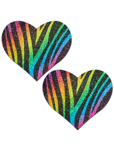 HEART NIPPLE PASTIES - RAINBOW GLITTER ZEBRA