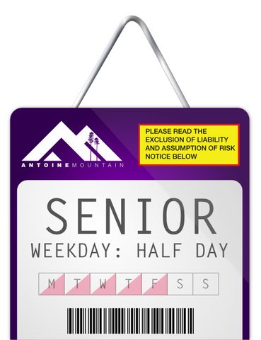 Senior (65+) 1/2 Day Lift Ticket - Weekday Afternoon
