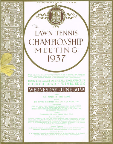1937 Wimbledon Programme - Wednesday June 30th