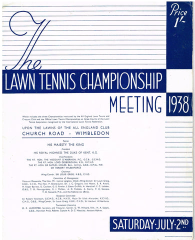 1938 Wimbledon Programme - Saturday July 2nd