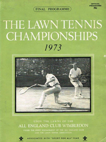 1973 Wimbledon Final Programme with Full Results