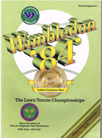 1984 Wimbledon Final Programme with Full Results