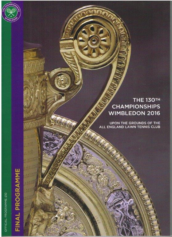 2016 Wimbledon Championships Final Programme with Full Results