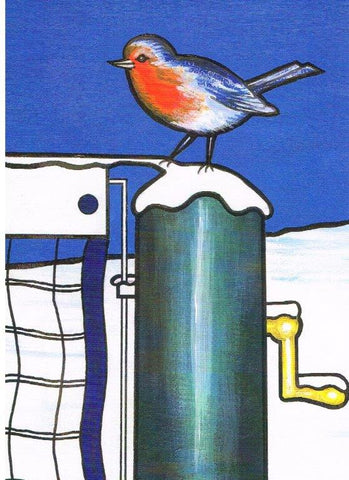 Christmas Card - Robin on Netpost (Order Ref CC01)
