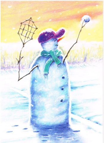 Christmas Card - Snowman Playing Tennis (Order Ref CC02)