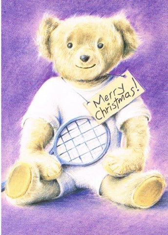 Christmas Card - Tennis Teddy Bear (Order Ref CC06)