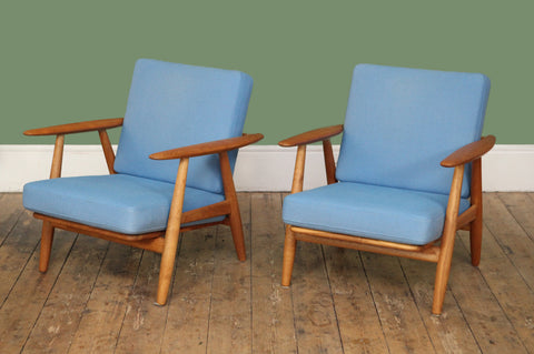 Hans Wegner Oak Armchairs (Pair) - Forest London