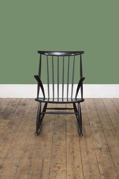 ON SALE // Black Rocking Chair by Illum Wikkelso