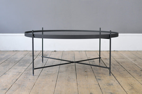 Large Contemporary Metal and Glass Side Table - Black