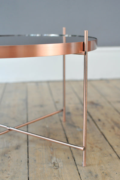 Contemporary Medium Metal and Glass Side Table - Copper