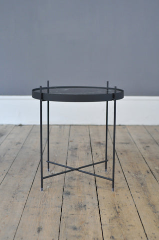 Contemporary Metal and Marble print Glass Side Table - Black