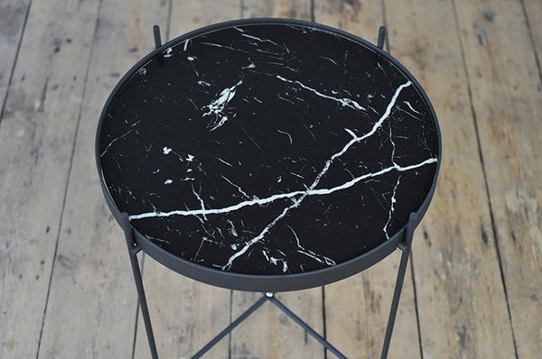 Contemporary Metal and Marble Print Glass Side Table