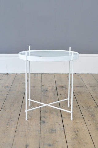 Contemporary Metal and Glass Side Table - White