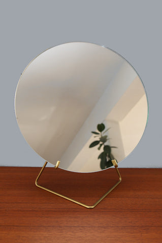 Contemporary Large Brass Mirror