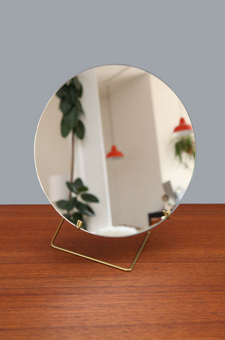 Contemporary Small Brass Mirror