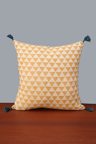 Mustard Yellow & Cream Square Shaped Cushion