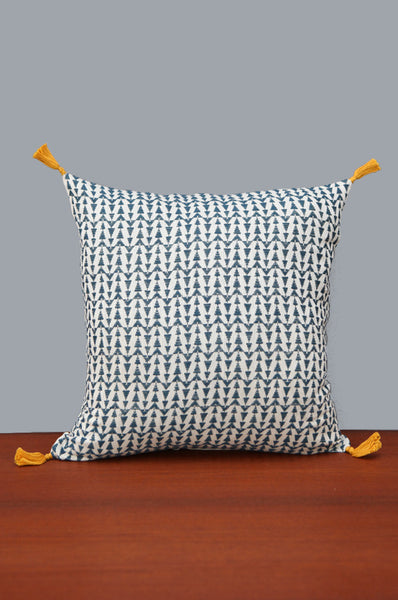 Navy & Cream Geometric Square Shaped Cushion