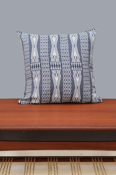 Navy & White Patterned Cushion - Forest London
