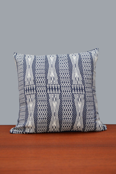 Navy & White Patterned Cushion
