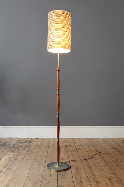 Teak and Brass Floor Lamp