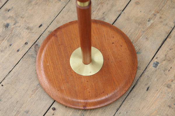 Midcentury Teak Lamp with Brass Rings