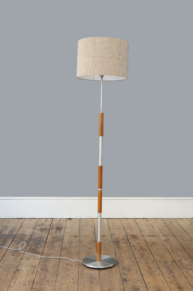 Danish Chrome & Teak Floor Lamp