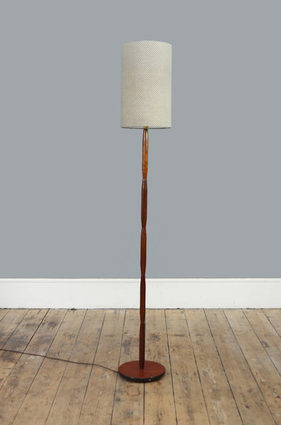 Rosewood and Brass Floor Lamp