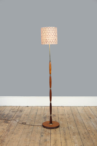 Rosewood and Ringed Brass Floor Lamp