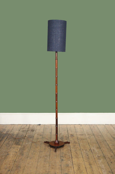 Tall Dark Teak Danish Floor Lamp