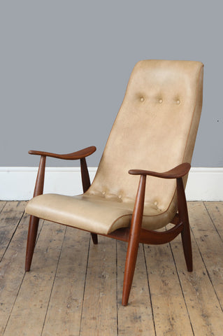 High back Dutch Teak Armchair