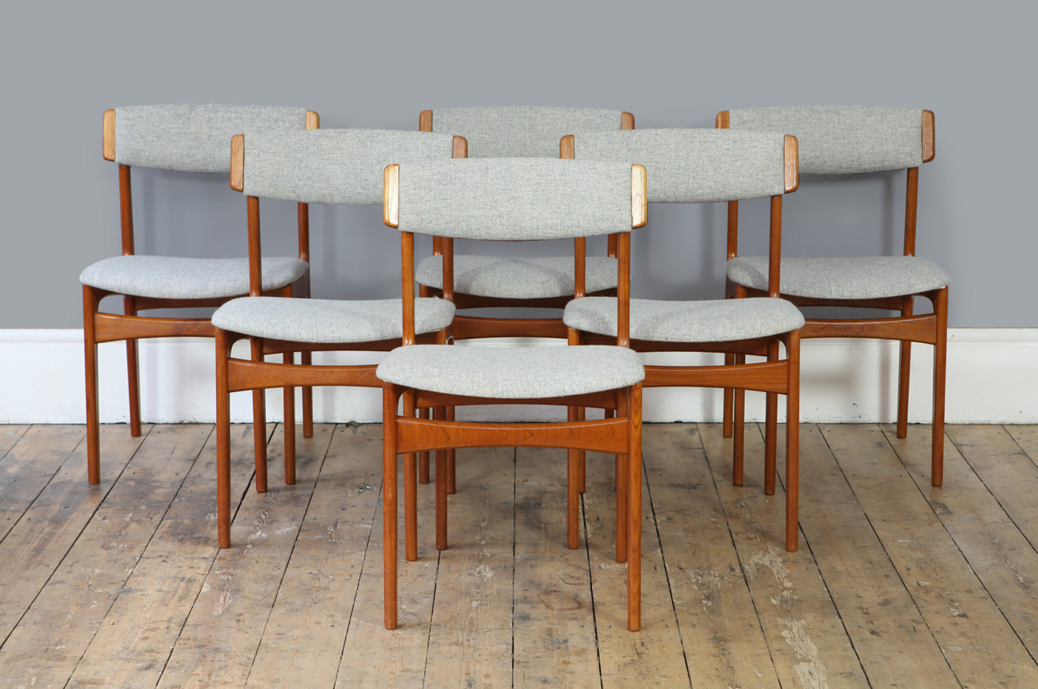 Set Of Six Teak Dining Chairs Forest London