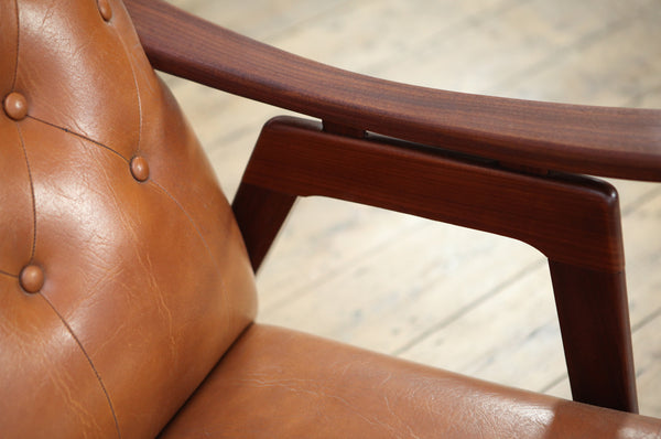 Dutch Tan Wingback Armchair