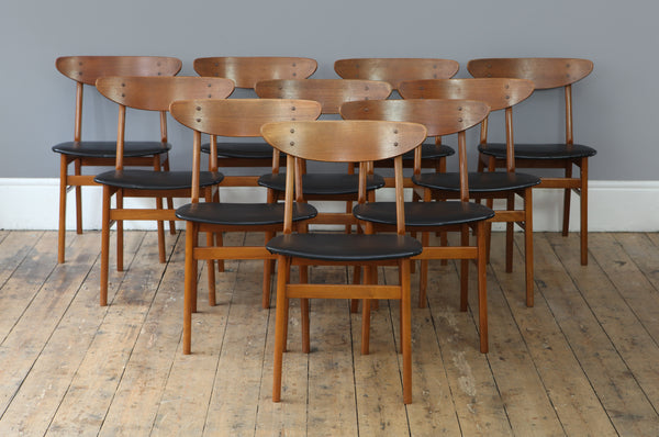 Set of 10 Teak Dining Chairs