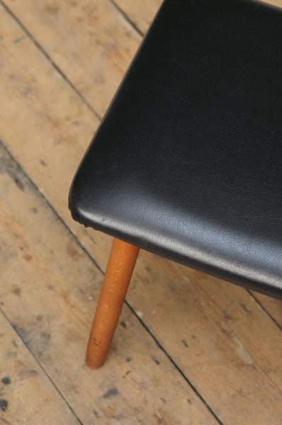 Black Skai Footstool - Forest London