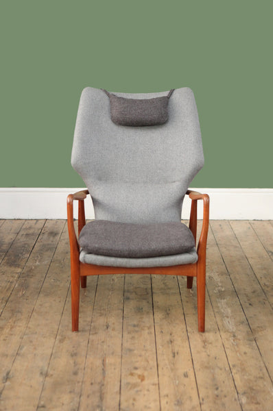 ON SALE // Newly Upholstered High Back Armchair by Madsen & Schubell