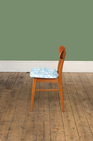 ON SALE// Teak Chair with Blue Patterned Seat - Forest London