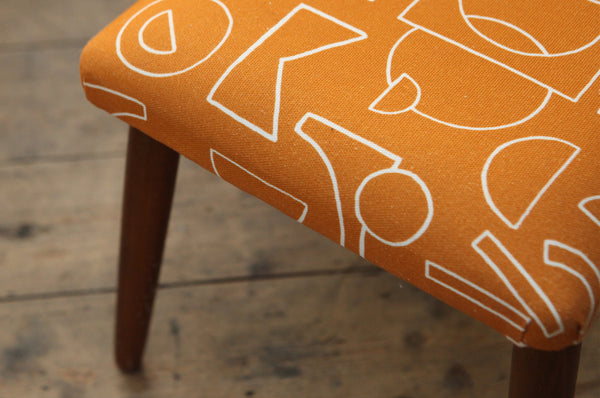 Teak Footstool with Orange Patterned Fabric