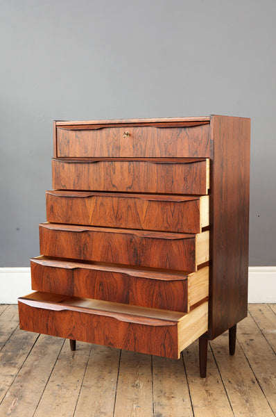 Tall Danish Rosewood Chest of Drawers