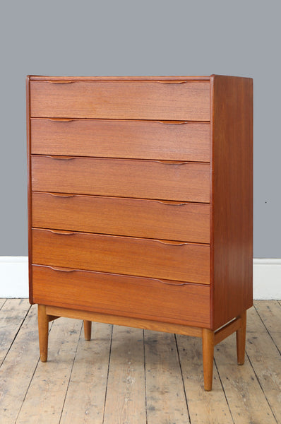Tall Teak Chest of Drawers - Forest London