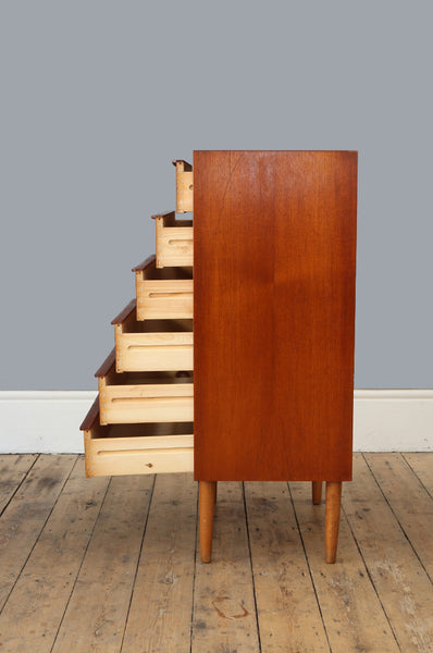 Danish Tall Boy Chest of Drawers
