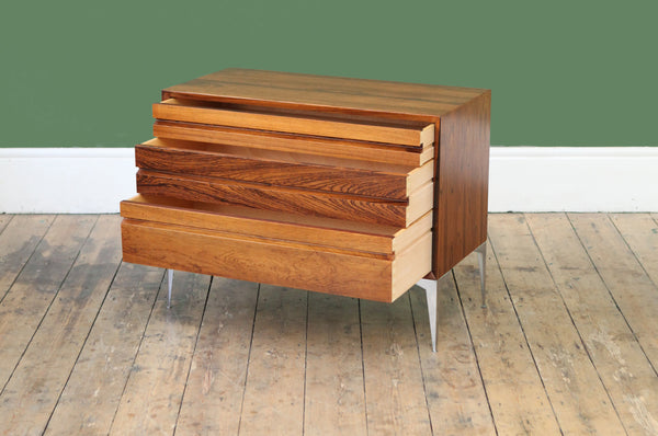 Rosewood & Steel Chest of Drawers