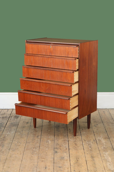 Teak Chest with Six Drawers