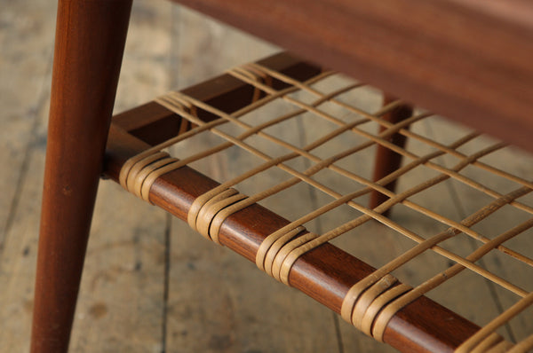 Coffee Table with Rattan Shelf