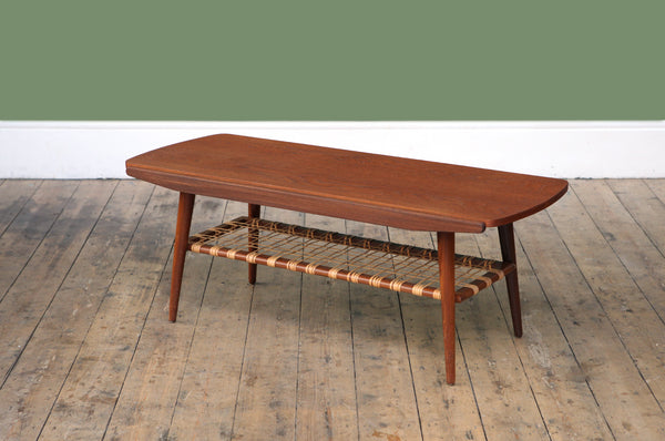 Coffee Table with Rattan Shelf - Forest London