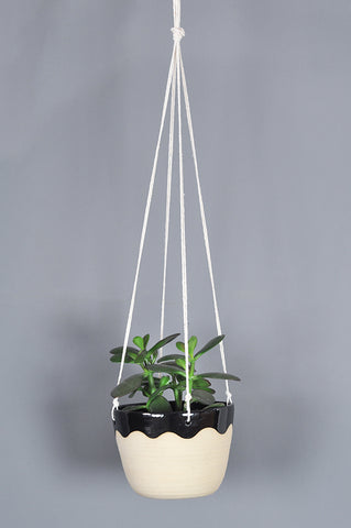 Hanging Planter with Black Wave by Hannah Bould