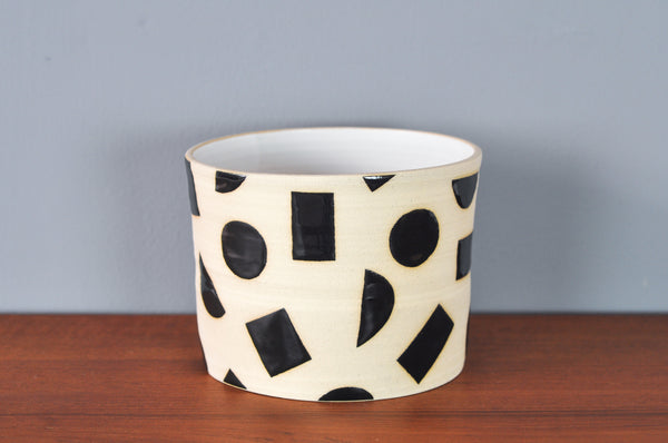 Large Planter with Black Shapes by Hannah Bould
