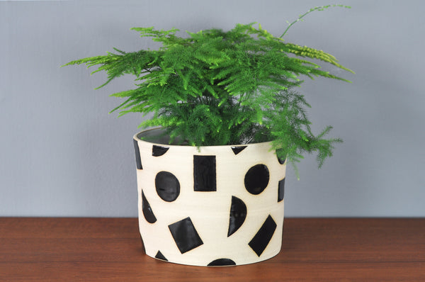 Large Planter with Black Shapes by Hannah Bould - Forest London